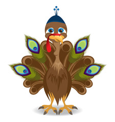 Turkey wearing a hat and peacock feathers