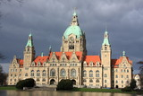 Hannover new town hall after rain storm in Hannover, Germany