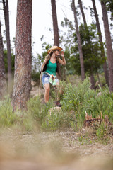 Woman hiking at the forest
