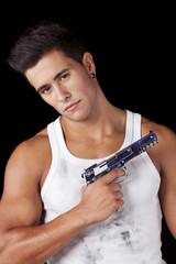 Man with a handgun