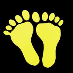 Gelbe Fußabdrücke auf schwarzem Hintergrund