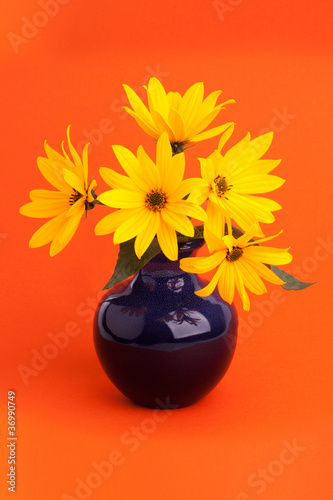 A bouquet of beautiful flowers in ceramic vase