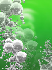 bubbles on green background