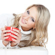 Picture of beautiful young woman with red cup