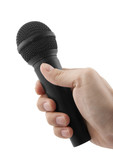Microphone in hand with clipping path