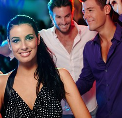 Beautiful woman and friends in nightclub