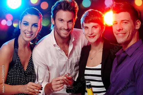Happy companionship in discotheque