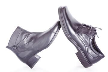 Black men's and woman's shoe