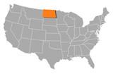 mapa spojených států, severní dakota, zvýrazněné