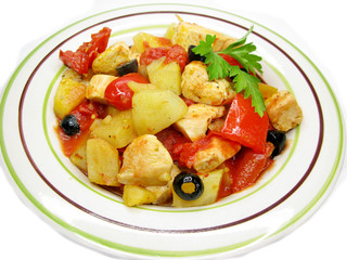 cooked chicken meat with vegetables