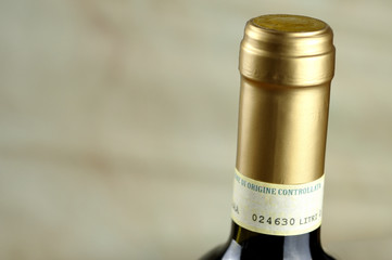 Bottle of fine Italian red wine, closeup