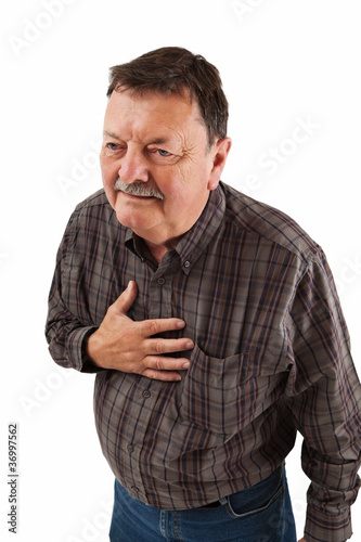 Man in his sixties having chest pain