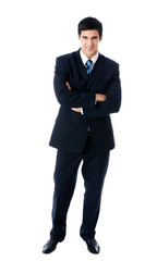 Full body portrait of businessman, isolated
