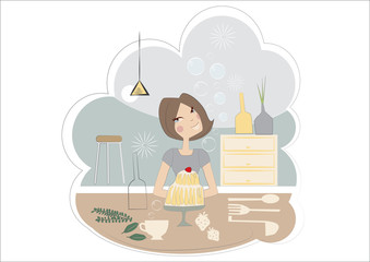 vector - woman cooking in a kitchen