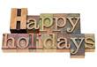 happy holidays in letterpress type