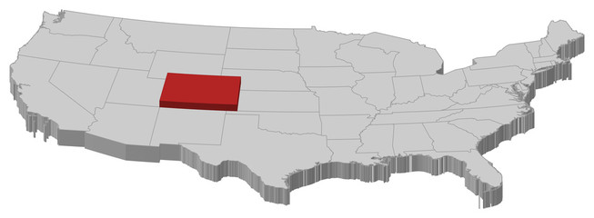 Map of the United States, Colorado highlighted