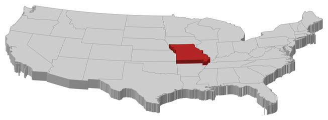 Map of the United States, Missouri highlighted