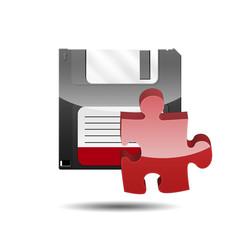 Icono disquete 3D con simbolo plugin