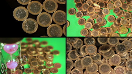 Green Screen - Time is money concept - hourglass and coins
