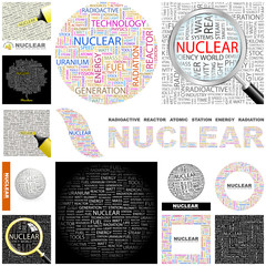 NUCLEAR concept illustration. GREAT COLLECTION.