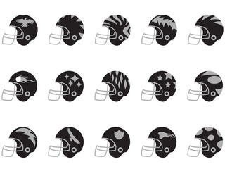 black football helmet set