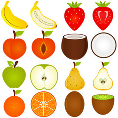 A vector collection of Fresh fruit cut in half isolated on white