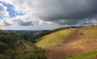 Scenic rolling grassland hills of coastal central california
