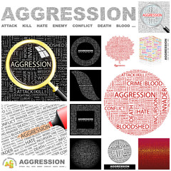 AGGRESSION. Concept illustration. GREAT COLLECTION.