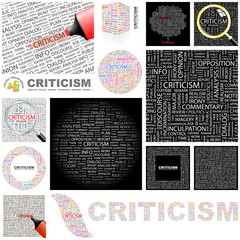 CRITICISM. Concept illustration. GREAT COLLECTION.