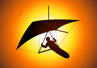 Silhouette illustration of a man figure gliding