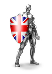 A chrome man holding a shield of United Kingdom flag