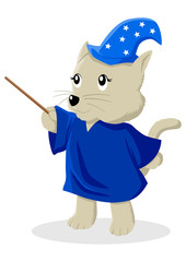 Cartoon illustration of a cat in magician costume