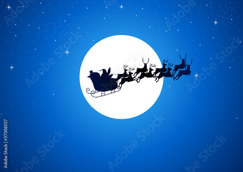 Santa Claus riding his sleigh over the moon