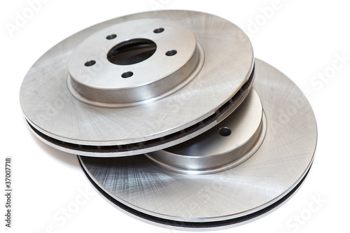 New two brake discs isolated on white background