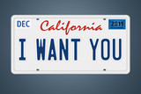 Nummernschild California I Want You poster