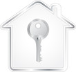 beautiful silver key in metallic house silhouette