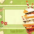 greeting card with big chocolate cake