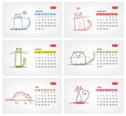 Vector calendar 2012, july. Funny cats design