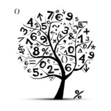 Fototapety Art tree with math symbols for your design