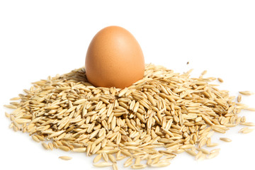 Oat pile and egg