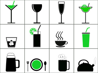 Set of drink and food icon variations