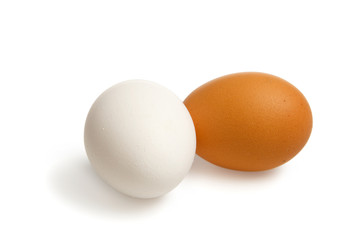 Two egg white and brown  with clipping path