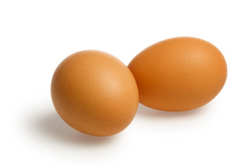 Two brown egg with clipping path