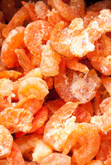 Dry shrimp close up