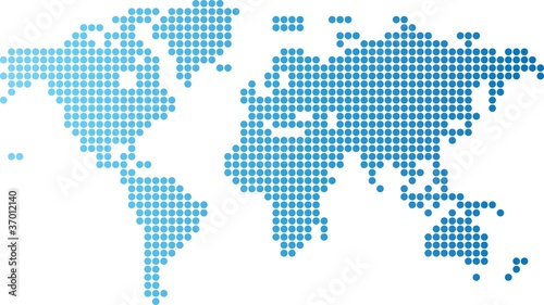 Aluminium Wereldkaart World map of blue round dots