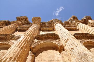 Inside marble Baahus temple in Baalbeck, Lebanon