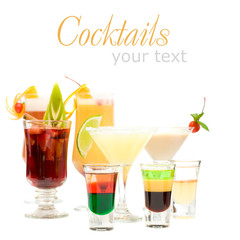 Alcohol Shot Drink on fancy blurred Cocktails Background