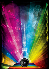 vector card with eiffel tower and neon lights