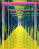 Color tunnel. Abstract image - mirrored tunnel. poster