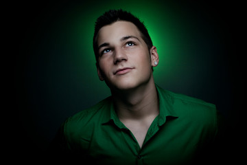 Man with green shirt